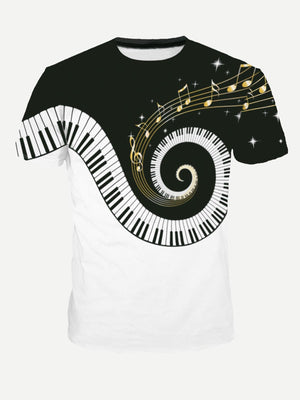 T-Shirts For Men - Piano Keys Print Tee