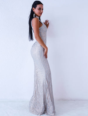 Women Silver Sleeveless Evening Gown