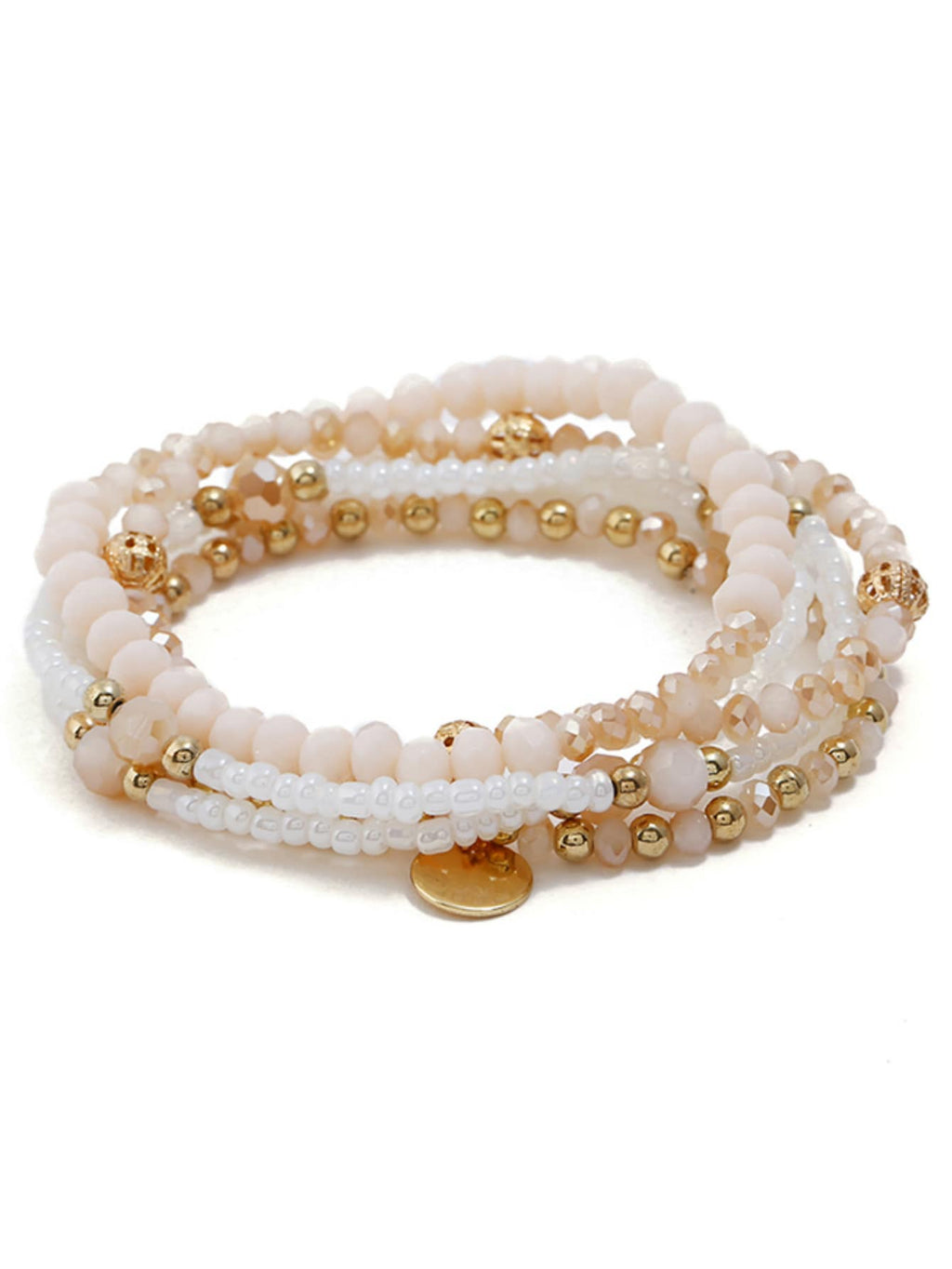 Beaded Bracelets - Disc Detail Beaded Bracelet Set 5pcs
