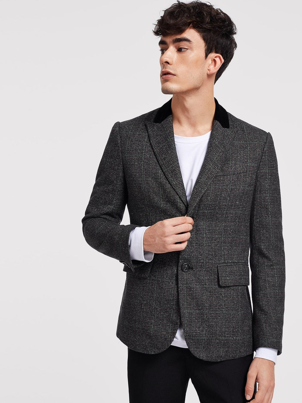 Men's Blazers - Single Breasted Plaid Print Blazer