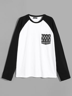 T-Shirts For Men - Color-Block Raglan Sleeve Tee