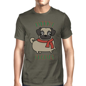 Merry Pugmas Pug Mens Dark Grey Shirt