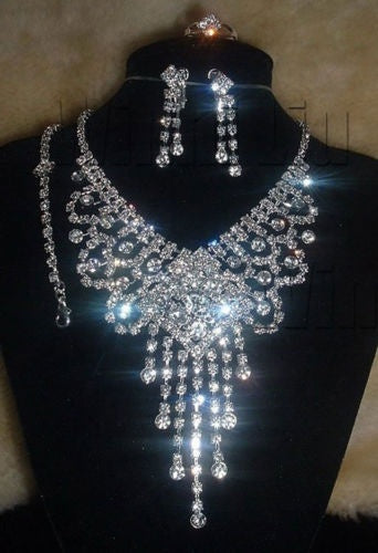 Bridal Jewelry - Rhinestone Crystal Necklace Earrings Bracelet Ring Set
