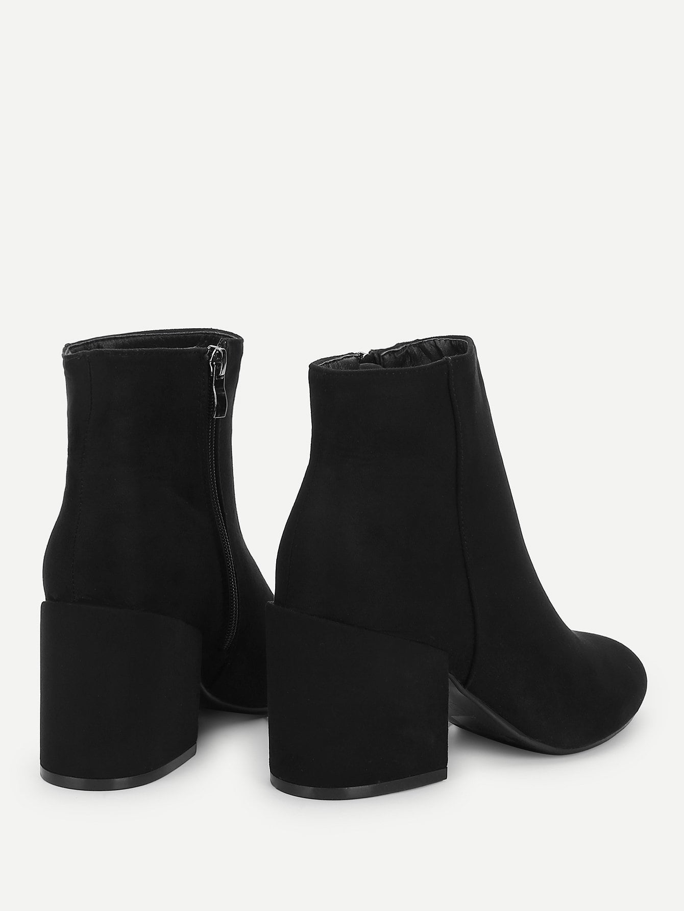 Formal Boots - Plain Block Heeled Ankle