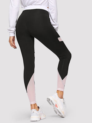 Leggings  - Contrast Waist Cut-and-sew