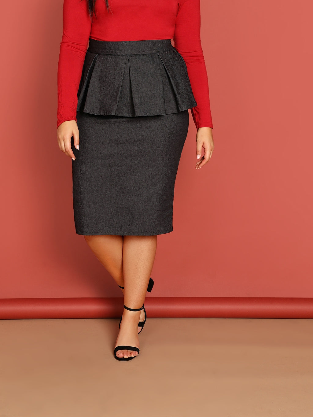 Plus Size Skirts - Flounce Trim Solid Skirt