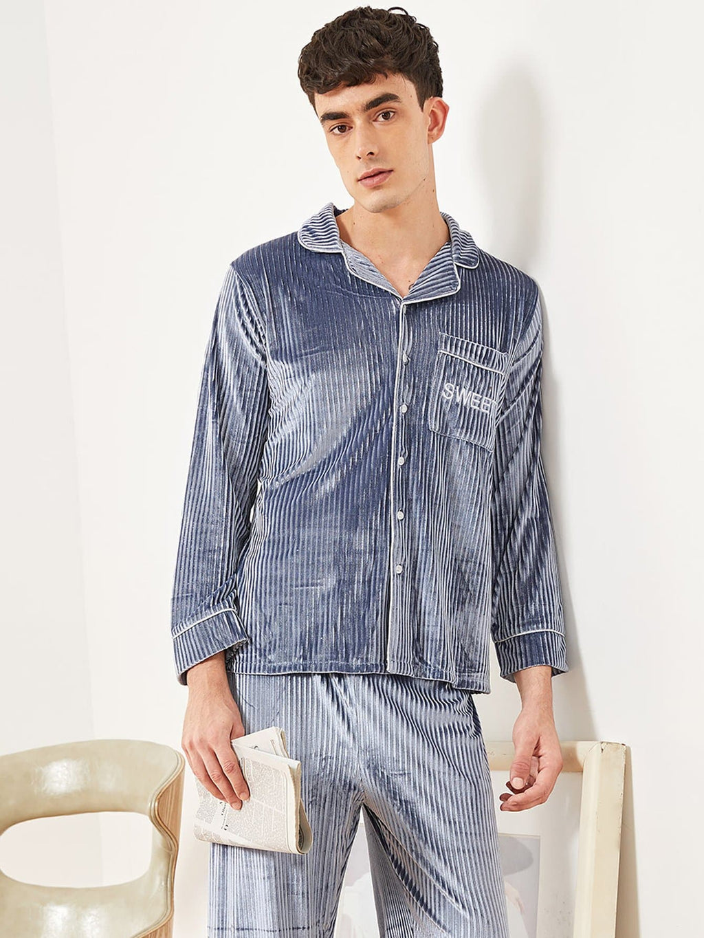 Men's Night Suit - Letter Embroidered Velvet Pajama Set