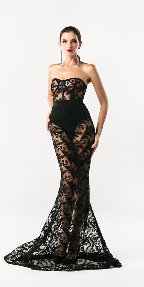 Black Lace Evening Gown