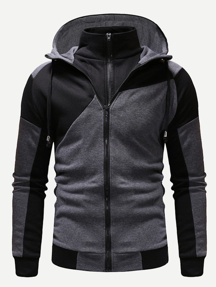Pullover Hoodies - Men Zipper Fly 2 In 1 Hooded Sweatshirt