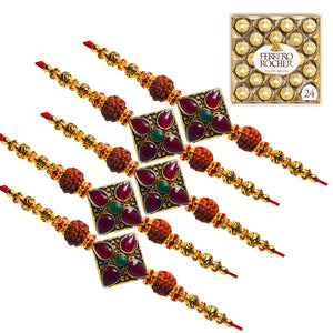 Fancy Lumba Rakhi - Green Beads and White Pearl Rakhi