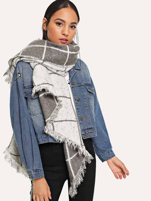 Stylish Scarves For Women - Fringe Hem Grid Scarf