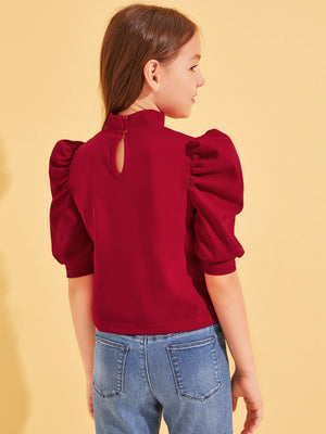 Girls Solid Mock-neck Puff Sleeve Top