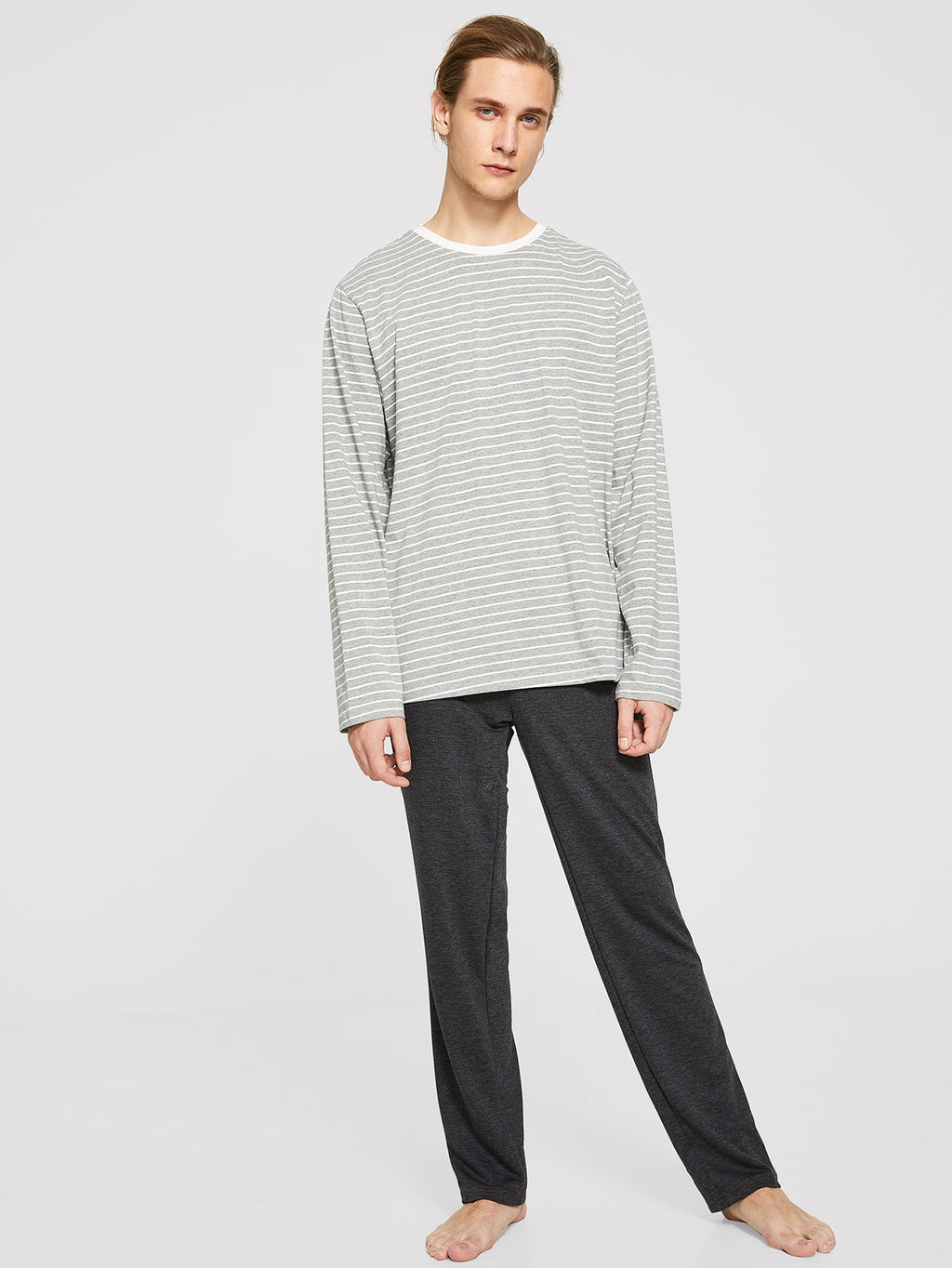 Men's Night Suit - Striped Tee and Heathered Knit Pants PJ Set