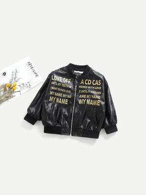 Toddler Boy Jackets - Letter Print Faux Leather Jacket