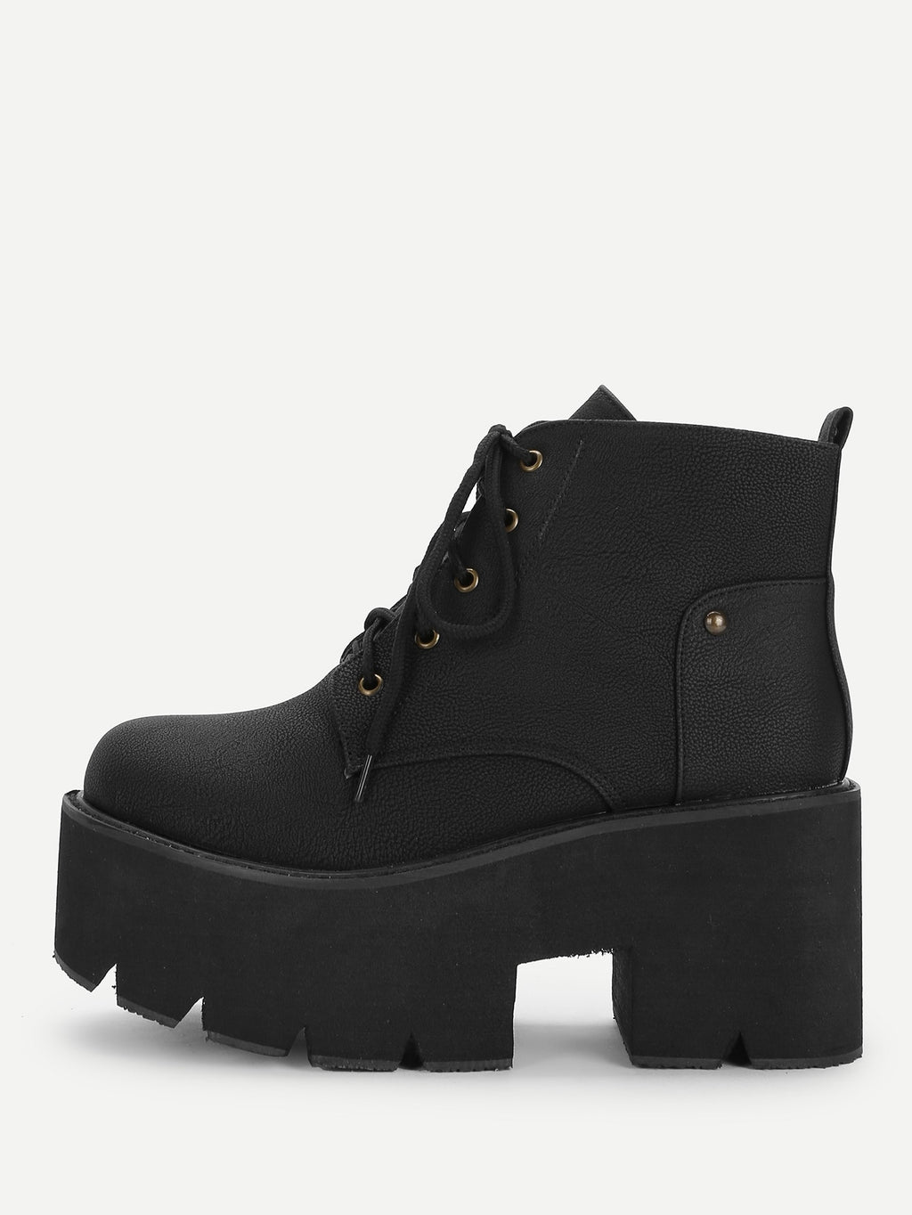 Women Boots - Lace-Up Platform Boots