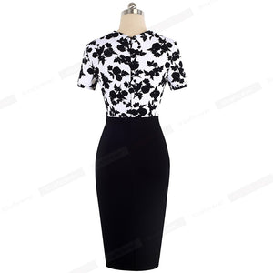 Elegant Floral Patchwork Business Turn-Down Collar Vestidos Formal Work Office Bodycon Women Female Dress