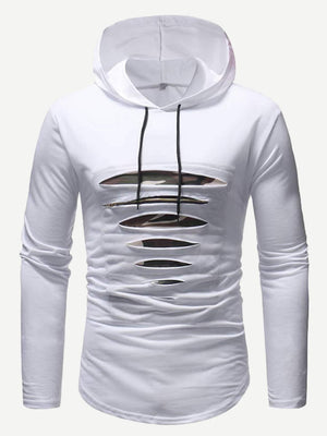 Men's T-Shirts - Ripped Hooded Tee