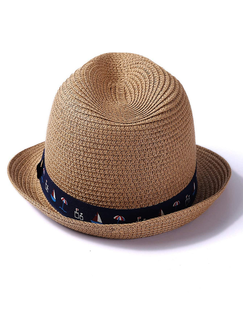 Kids Hats - Boys Mixed Print Band Straw Hat