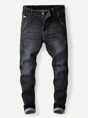 Denim Jeans - Men Plain Washed Skinny Jeans