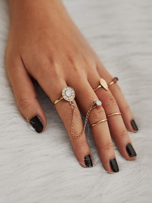 Rings For Women - Rhinestone Leaf Design Ring Set