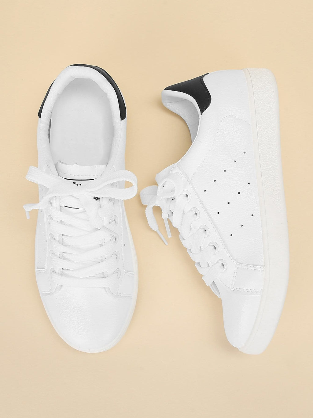 Womens Sneakers - Lace Up Plain Sneakers