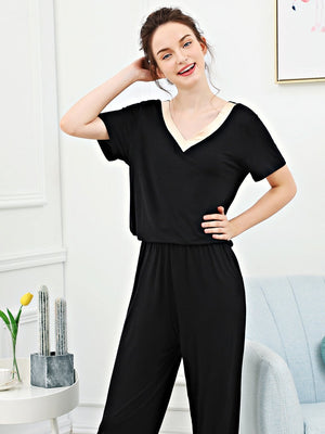 Pajama Set - Contrast V Neck