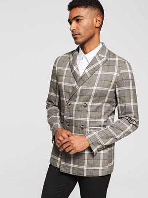 Men's Blazers - Button & Pocket Front Plaid Blazer