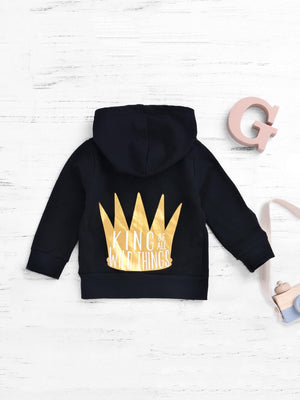 Toddler Boy Jackets - Imperial Crown & Letter Print Hooded Jacket