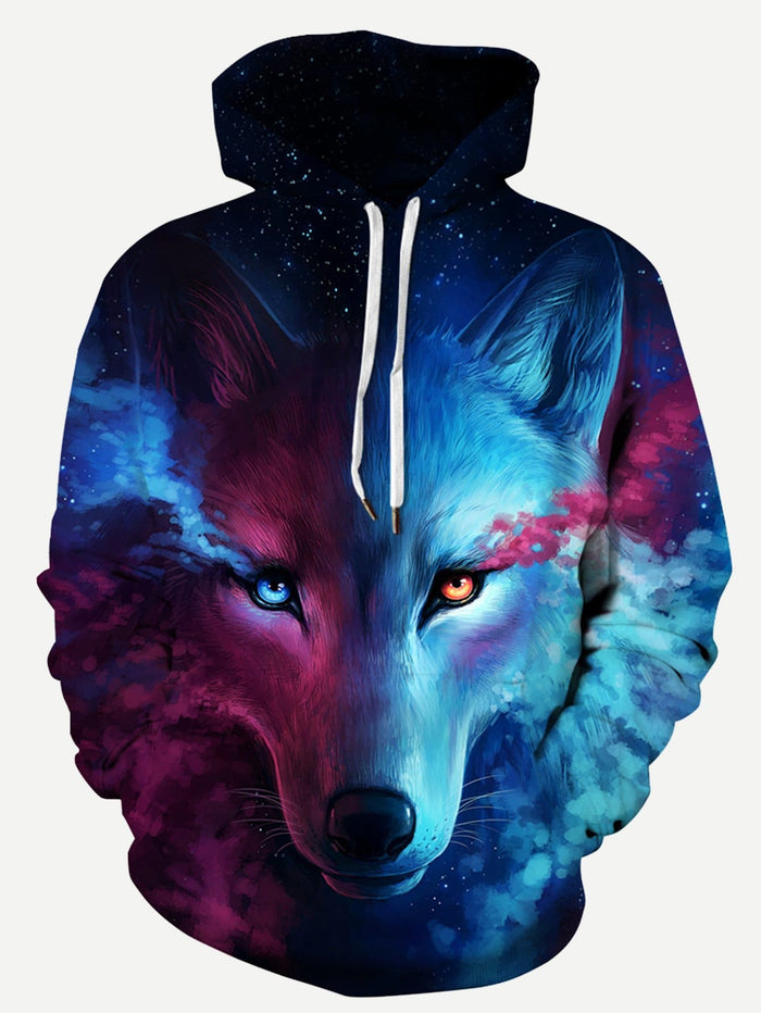 Men's Hoodies -  3D Wolf Print Hooded Sweatshirt