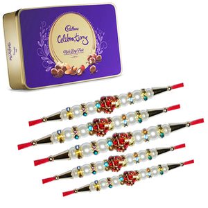 Set of 5 Pearls Rakhi With Cadbury Celebrations Rich Dry Fruit Box