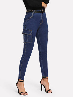 Women's Jeans - Dark Wash Pocket Patched Jeans
