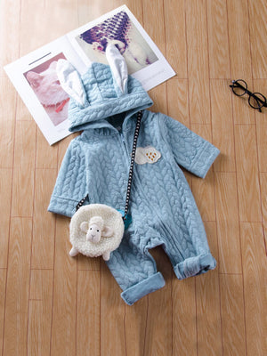 Toddler Boy Jumpsuit - Patched Detail Hooded Jumpsuit Without Bag