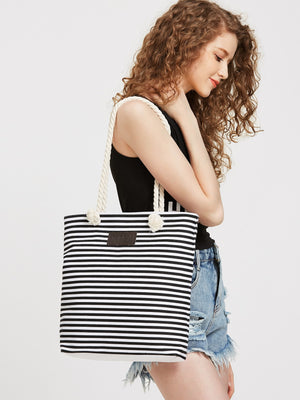 Shopping Bags - Black Striped Print Tote Bag