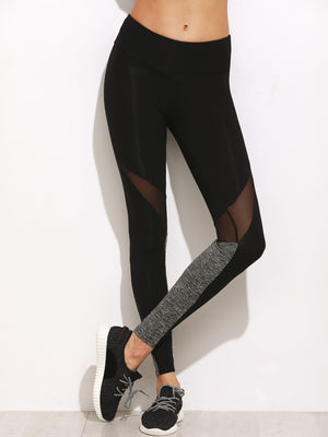 Leggings For Women - Color Block Mesh Insert Leggings