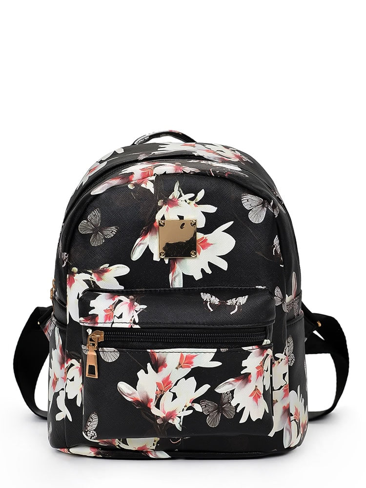 Backpacks For Girls - Vintage Flower Print Backpack