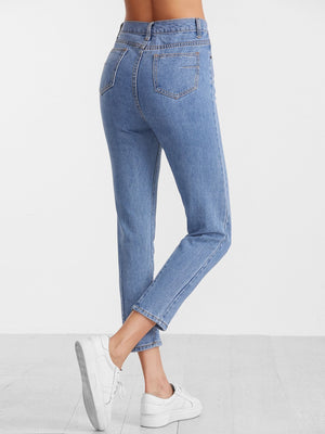 Jeans For Women - Blue High Waist Casual Jeans