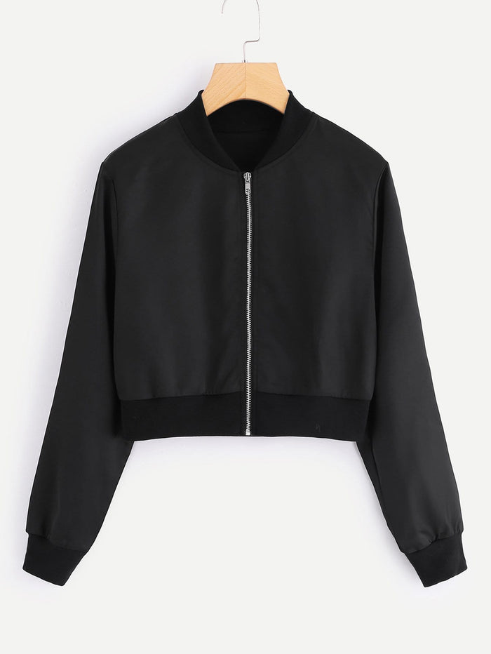 Jackets For Women - Solid Zip Up Front Crop Jacket