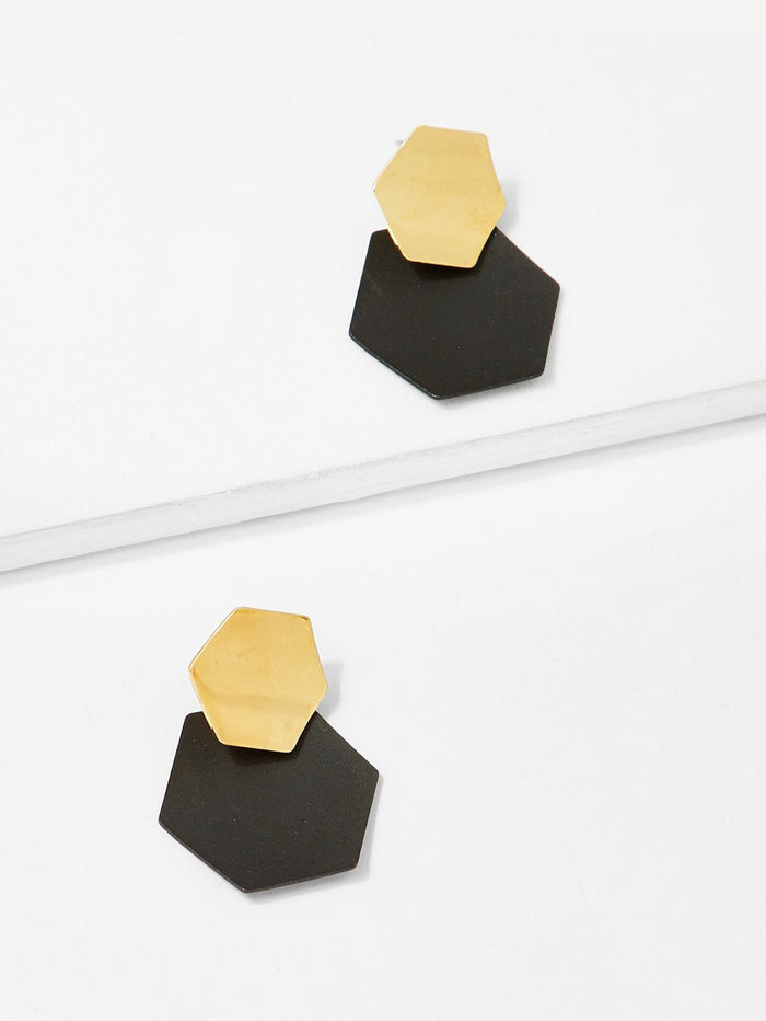 Earrings - Two Tone Geometric Stud  Earrings