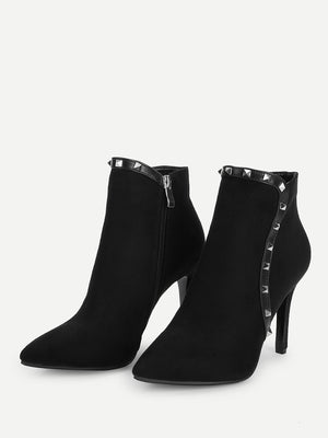 Women Boots - Rivet Detail Point Toe Ankle Boots