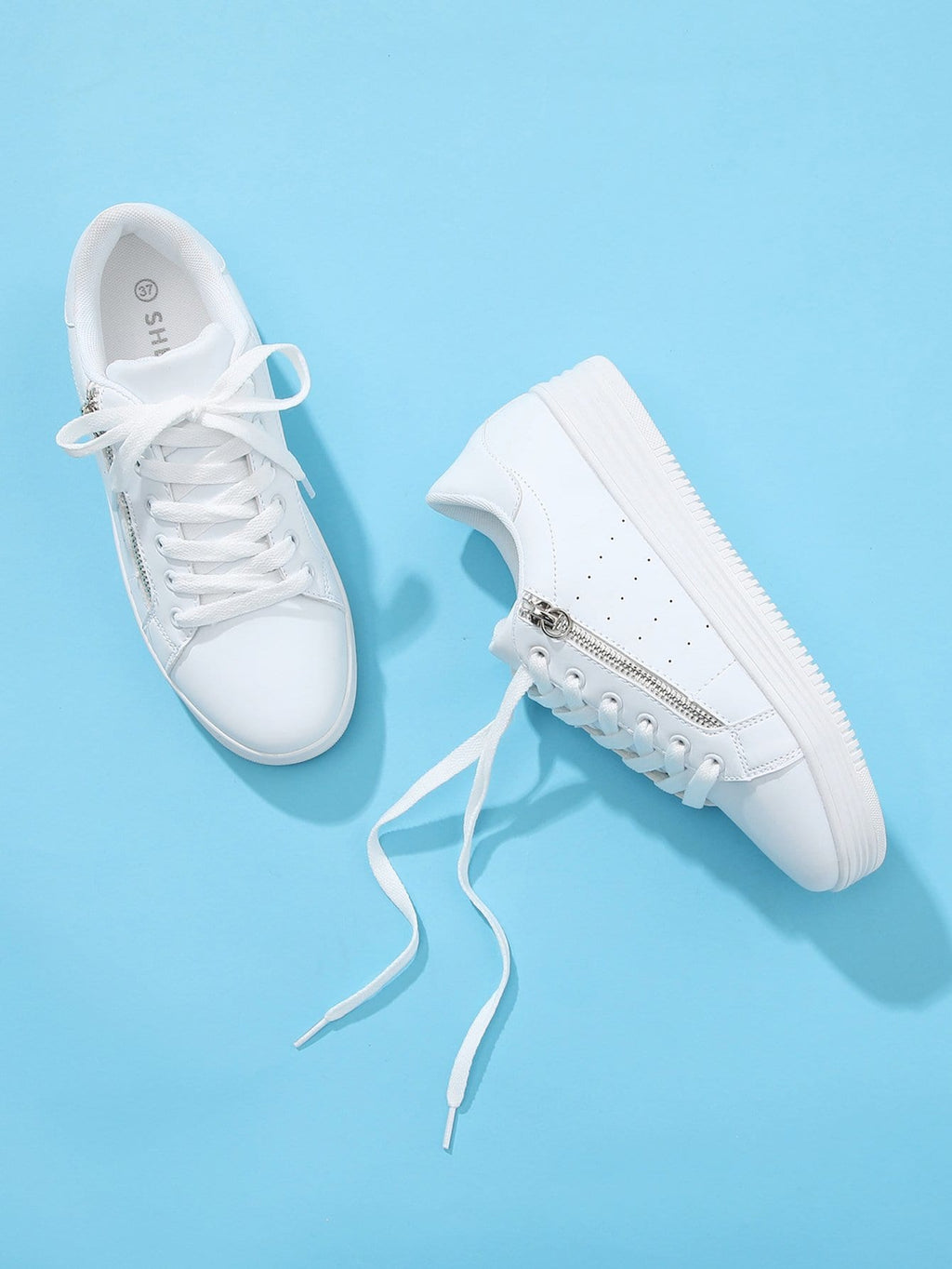 Womens Running Shoes - Zipper Side Lace Up PU Sneakers