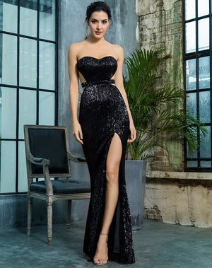 Evening Gown - Black Sequin Gown