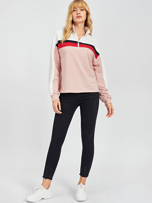 Women's Activewear - Half Placket Color-Block Sweatshirt