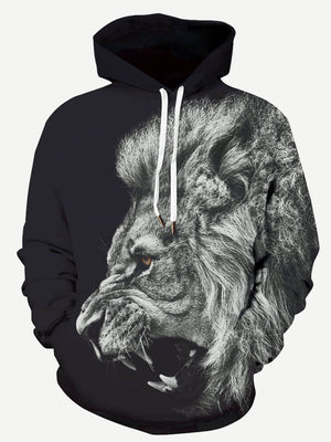 Men's Hoodies - 3D Lion Print Hooded Sweatshirt