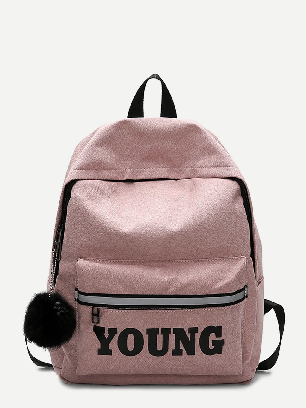 Bags For Women - Pom Pom Decor Slogan Detail Backpack