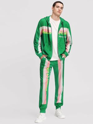 Men's Tracksuit - Zip Up Drawstring Hoodie & Pants Set