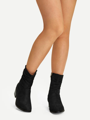 Formal Boots - Plain Faux Suede Ruched Boots