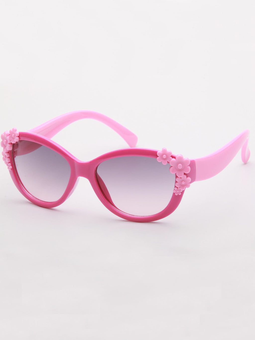 Kids Sunglasses - Neon Pink Girls Flower Decor Two Tone Sunglasses