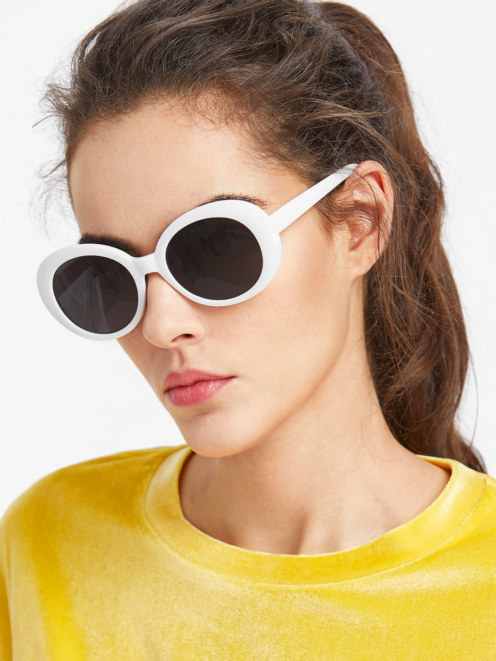 Online Sunglasses - Contrast Frame Flat Lens Cat Eye Sunglasses