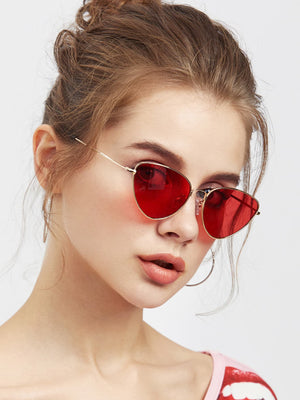 Cheap Sunglasses - Oval Shaped Flat Lens Sunglasses