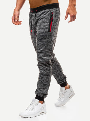 Men's Activewear Pants - Space Dye Zipper & Drawstring Detail Pants